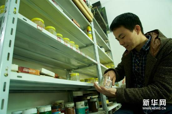 1月15日,胡伟在挑选制作漆画的材料。