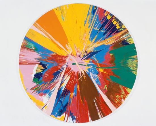 达明安·赫斯特,《美丽的、破碎的、撕裂的、暴力的、粉红的、开裂的、发散的绘画》 图片:courtesy of White Cube © Damien Hirst and Science Ltd。 All rights reserved, DACS 2012。