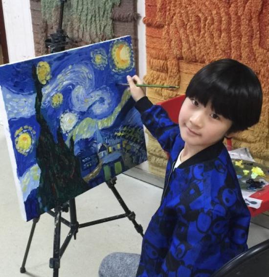 8岁天天第一次画油画就完美复刻了梵高大作_业界聚焦_新浪收藏_新浪...