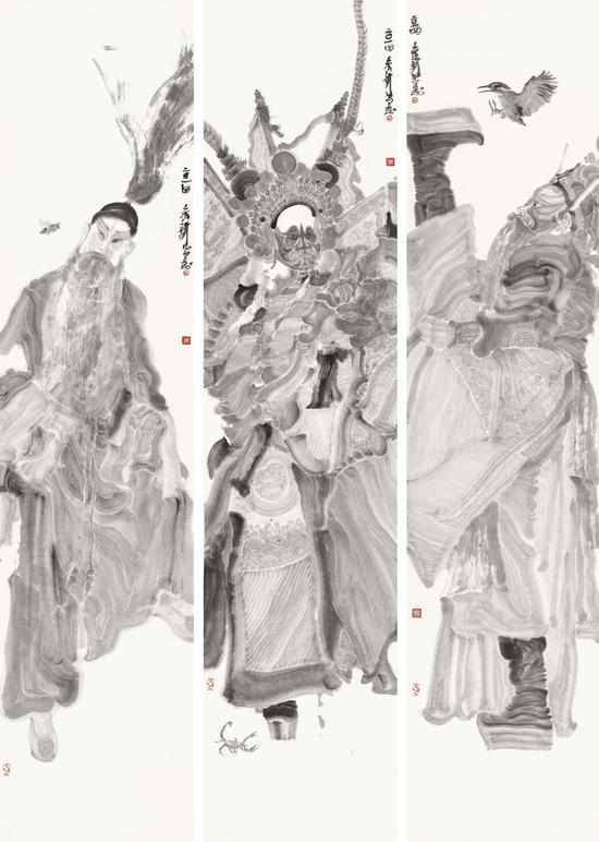周京新 角色之一、之二、之三 230cm×51cm×3