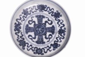 具有藏传佛教风格的十字宝杵纹瓷器