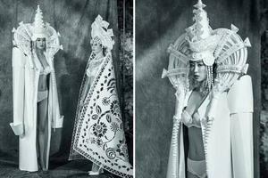 她把一张普通的纸做成华美的婚礼礼服