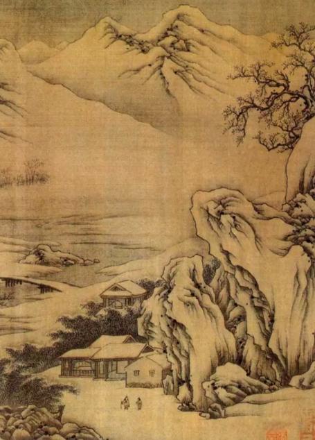 """王维的水墨画风,几乎影响着中唐以后的山水画发展的历史。苏轼的""""诗中有画,画中有诗""""的赞语,奠定了王维在中国绘画史上的地位。    ▲唐 王维《江干雪霁图卷》"""