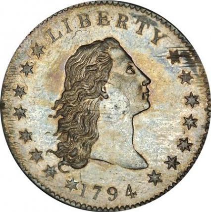 """资料图:这枚名为""""飘逸长发""""(Flowing Hair)的1794年发行的一美元银币,拍卖价超过1000万美元。"""