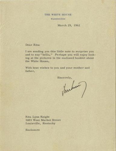 美国前总统肯尼迪写给小女孩的回信。
