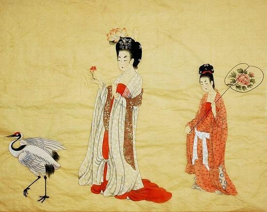 临唐·周昉《簪花仕女图》,幽草画(图片:四川美术论坛网)