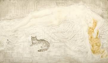 藤田嗣治(1886–1968)《裸女与猫》,估价:2,000万至3,000万港元