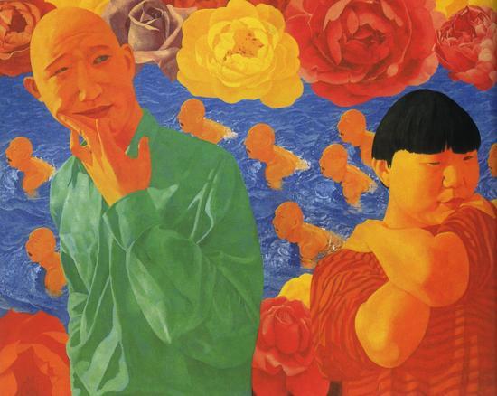 方力钧-1993.1 180x230cm 亚克力颜料 画布 1993 私人收藏