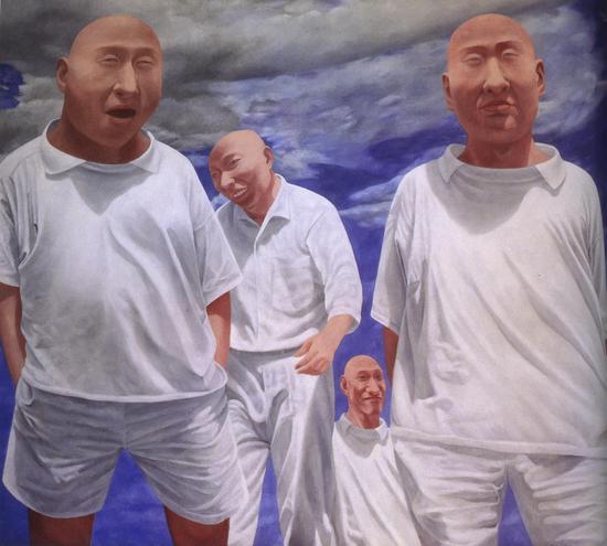方力钧-系列二(之六) 200x230cm 油彩 画布 1991-92 私人收藏