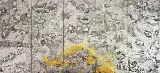 方力钧-2011正在进行中的作品,400×875cm,布面油画
