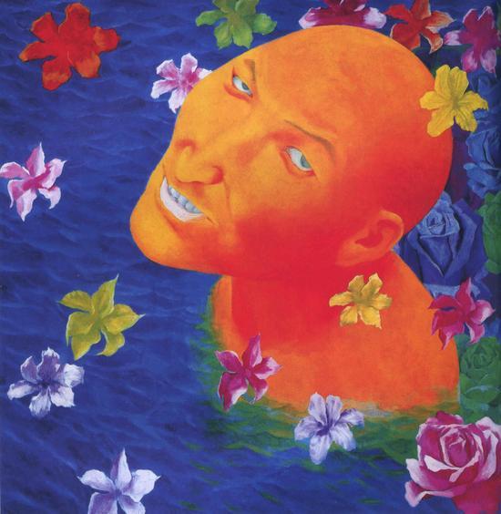 方力钧-1994-1995.3 100x100cm 油彩 、画布 1994-95 私人收藏