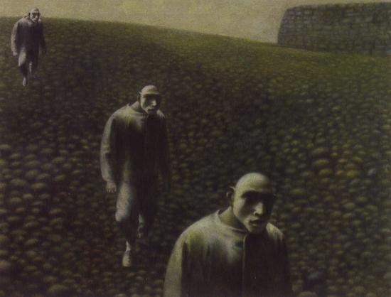方力钧-油画(之三) 46.5x60.2cm 油彩、画布 1988-89年 私人收藏