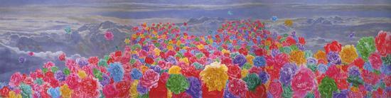 方力钧-2006.6.4 180x750 油彩、画布 2006 印尼CP基金会收藏