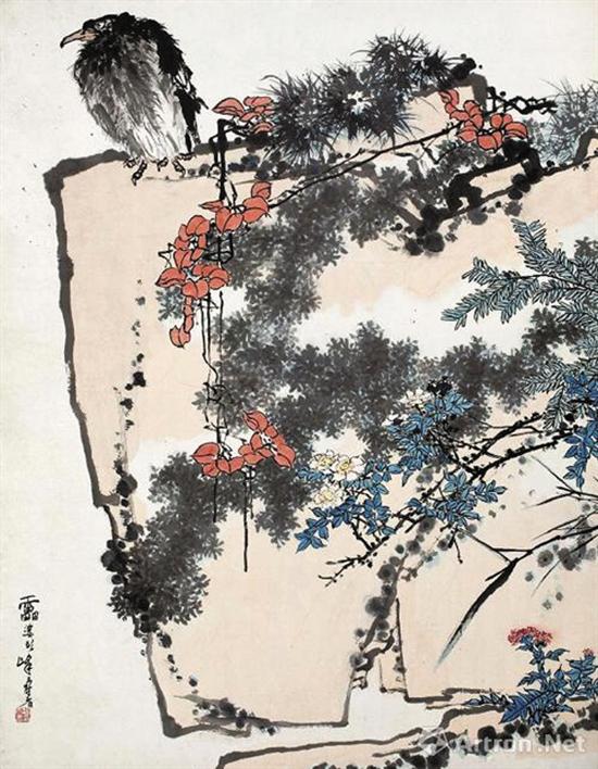 潘天寿的《鹰石山花图》以4502万美元(约合2.79亿元人民币)成交,创中国地区年度最贵作品。
