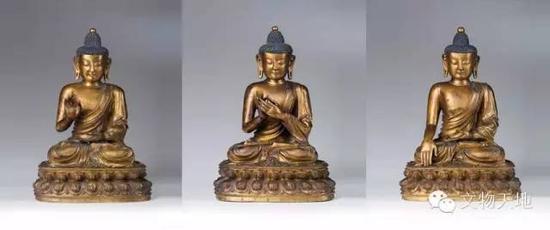 波利斯卡尤拍卖的三尊铜鎏金佛像