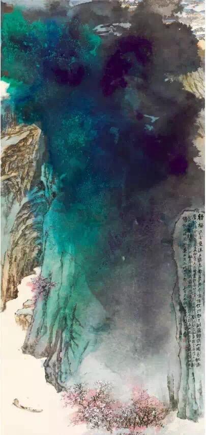 张大千 《桃源图》 1982年 泼墨泼彩纸本,209×92.2cm