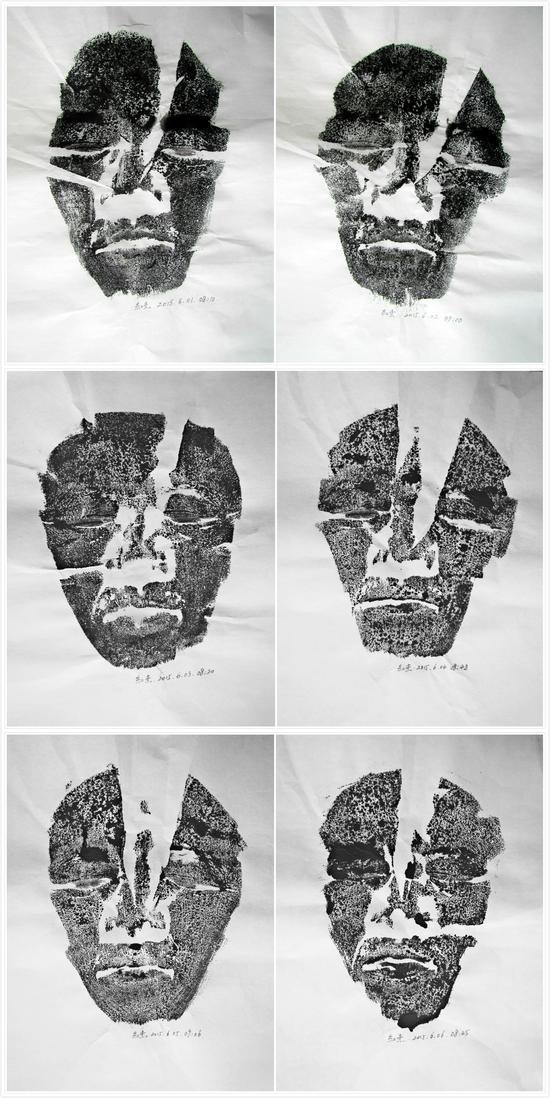 郭红杰  脸印  2015.6.1--6.6  70×120cm  宣纸、墨    2015