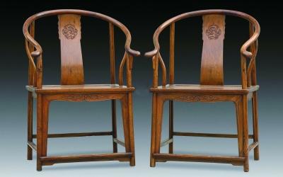 清 黄花梨龙纹圈椅