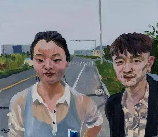 刘小东《小军和秀灵》, 2015 布面油画 35 x 40 cm