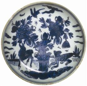 图2 :明隆庆喜鹿蜂猴图青花盘2_b