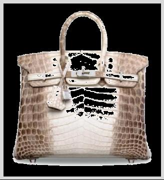 珍罕雾面白色喜玛拉雅尼罗鳄鱼皮25公分钻石柏金包附18K白金及钻石配件 爱马仕2013年 一级评价 25 x 19 x 13 公分 估价:港币1,300,000-1,500,000(美元170,000-190,000)