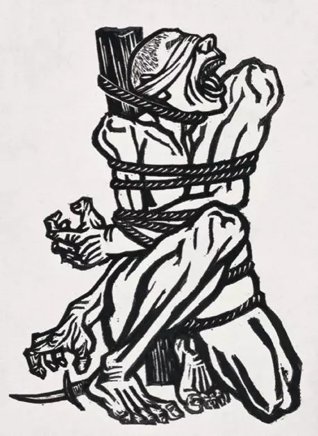 李桦,《怒吼吧,中国!》木刻版画,20×15cm,1935年,收藏:中国美术馆