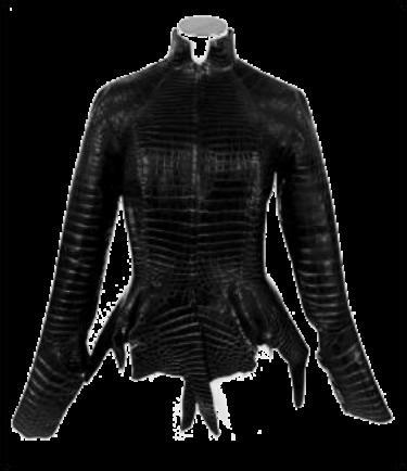 珍罕JEAN PAUL GAULTIER设计雾面黑色POROSUS鳄鱼皮褛 爱马仕2004年 二级评价 尺码:36 估价:港币200,000-250,000(美元26,000-32,000)