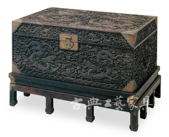 图2 紫檀雕云龙纹箱(故宫博物院藏)