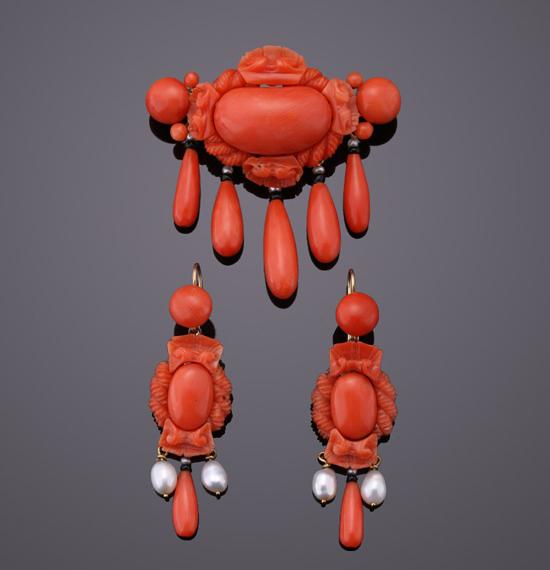 1940年代战后复古时期红珊瑚套装 材质18K黄金红珊瑚珍珠 总重20g 耳环4.6X1.42cm