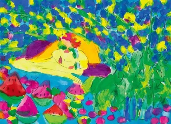 Lot 653丁雄泉《盛夏》1990年代纸本 综合材料 37×50.5 cm.出版:《丁雄泉八十年代、九十年代》,龙门雅集、华氏画廊,上海,2011年3月,第165页
