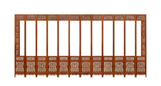 清前期(1644-1722) 黄花梨五抹十二扇围屏