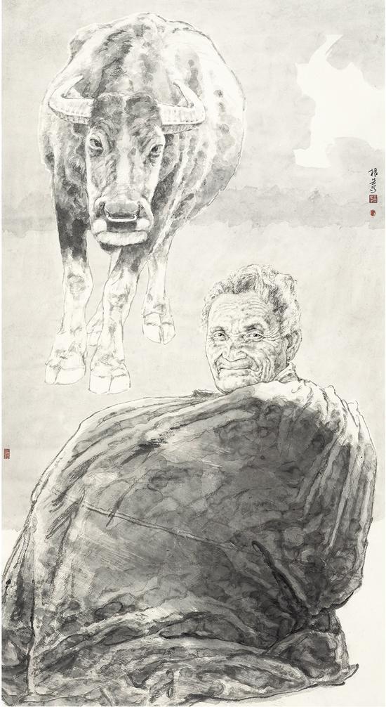 《老人和牛》96×176cm