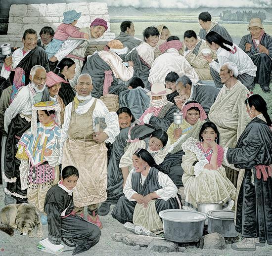 《和谐西藏》190×180cm