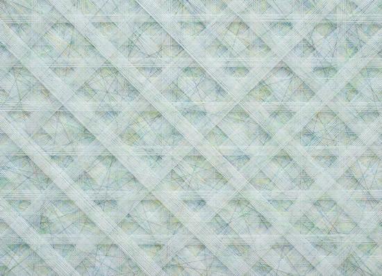 顾奔驰《Endless-line-No.40》65X90cm 涤纶丝绒、丙烯、不锈钢钉、热熔胶 2016