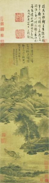 《漁父圖》軸 84.7×29.7厘米 吳鎮 元 北京故宮博物院藏