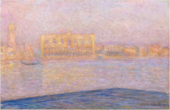 克劳德·莫奈(Claude Monet),《从圣乔治·马焦雷岛观总统府》(Le Palais Ducal vu de Saint-Georges Majeur),1908 图片:Courtesy Sotheby's