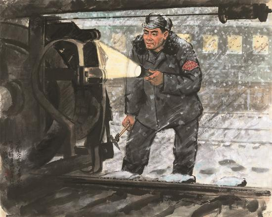检车工 约60年代77X96.5cm 纸本彩墨
