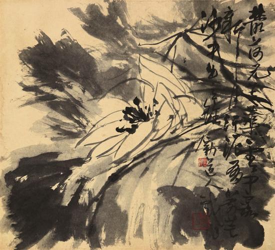墨荷  李苦禅 约40年代 44.5x48.5 cm 纸本水墨