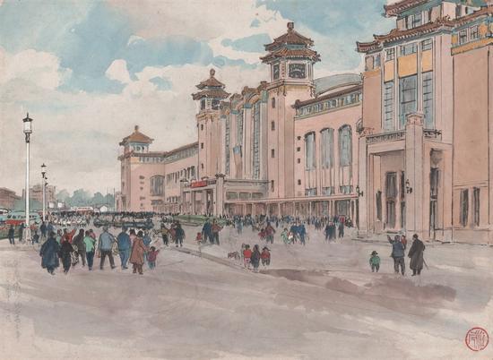 竣工的北京火车站1959年 28.5X39.5cm 纸本彩墨