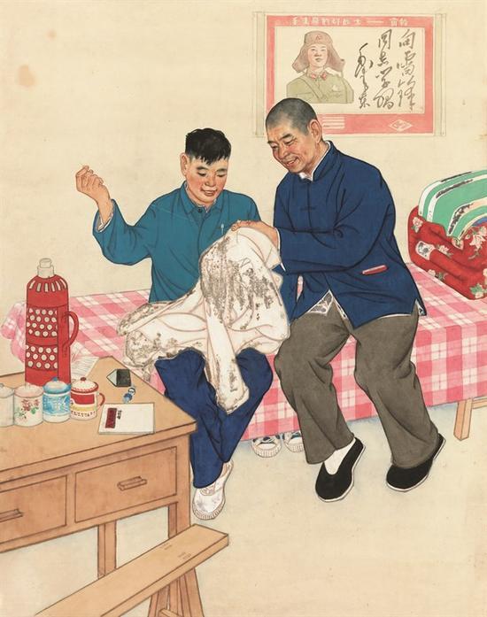 韦江凡《时传祥和他的徒弟(组画之一)》81X64cm纸本重彩+约...