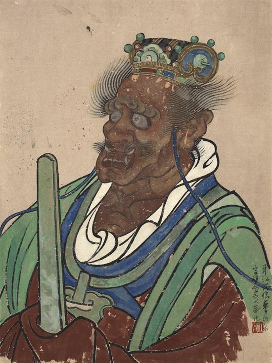 韦江凡1957年临摹永乐宫壁画