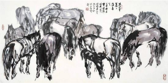 芳草萋萋接连天 2005年 70x139cm 纸本彩墨