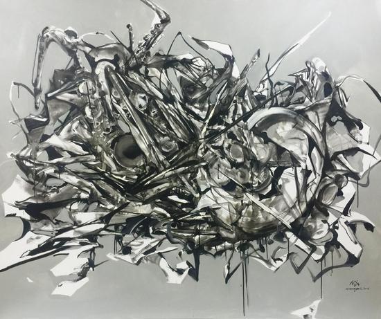 黄岱作品:萨克斯 150*180cm 布面油画 2016-2016 青年艺术 推广计划