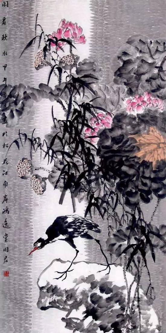 王同君《 荷塘系列 闲看秋水》 136 x68cm    纸本