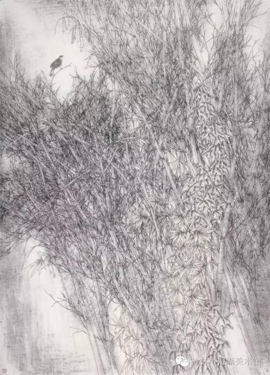 风吟秋竹动寒声 220×160cm 纸本设色  张超
