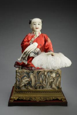 清中期铜镀金染牙箱童子风扇 北京故宫博物馆藏