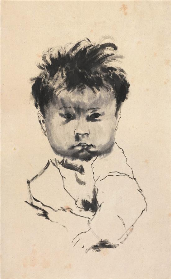 儿童(临摹)53.5×33.5cm 1983年作 纸本设色