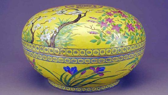 清光緒黃地粉彩花卉紋粉盒 北京故宮博物院藏