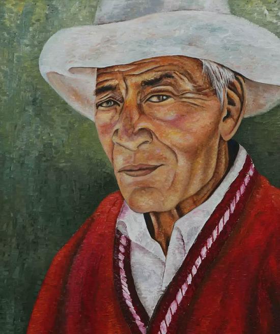 次仁拉姆-红毛衣,布面油画