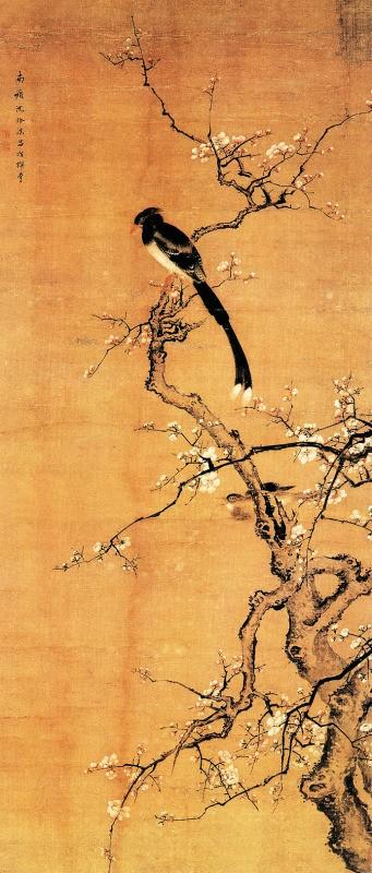 《梅花绶带图》 清 沈铨